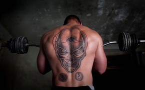 Picture skull, tattoo, Jock, rod