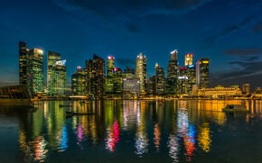 Picture water, night, lights, reflection, coast, skyscrapers, Singapore