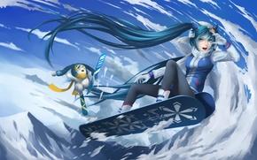 Picture winter, girl, snow, joy, mountains, snowboard, anime, art, vocaloid, yuki miku, sg fremontbar