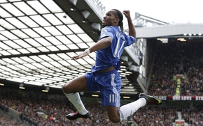 Picture the audience, Drogba, the celebration, tribune, old Trafford, stadium, England, Drogba, player, star, player, Old …