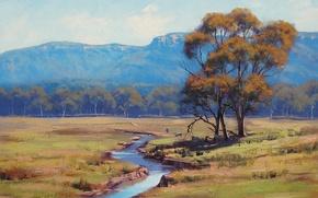 Wallpaper animals, landscape, river, tree, hills, art, artsaus