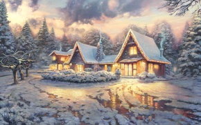 Wallpaper winter, light, snow, clouds, the film, smoke, ice, picture, houses, ice, house, painting, tree, art, ...