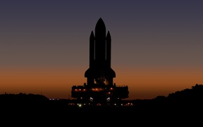 Picture lights, NASA, Shuttle, sunset, silhouette, launch platform