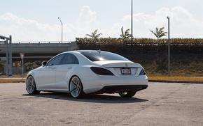 Picture white, tuning, Mercedes, back, Mat, CLS 550