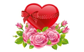 Picture flowers, holiday, gift, heart, rose, art, bow, Valentine's Day