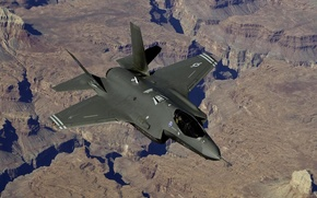 Picture the plane, landscape, fighter, F-35
