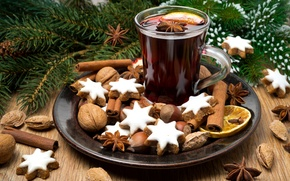 Picture winter, branches, lights, wine, lemon, spruce, New Year, cookies, Christmas, drink, nuts, cinnamon, cakes, holidays, …