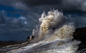 Picture waves, storm, sky, coast, nature, water, clouds, pier, lighthouse, Sea, harbor