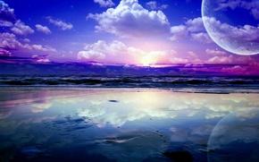 Wallpaper the moon, sunrise, water