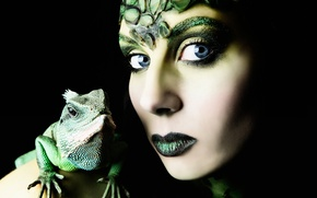 Picture girl, portrait, makeup, lizard