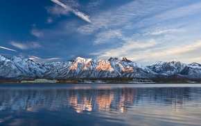 Picture wave, the sky, clouds, mountains, lake
