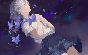 Picture water, night, skirt, schoolgirl, bells