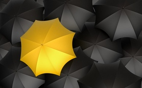 Picture yellow, umbrellas, black color