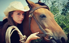 Picture hat, brunette, horse, Cowgirl, girl. teen