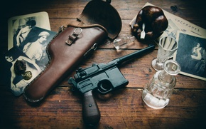 """Picture gun, weapons, table, Photo, ashtray, holster, glasses, """"Mauser"""", store, Mauser C96"""