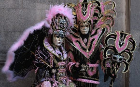 Picture umbrella, feathers, mask, pair, costume, Venice, carnival