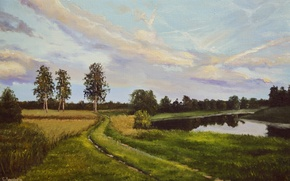 Picture road, field, forest, summer, the sky, grass, water, clouds, trees, landscape, river, shore, day, painting, …