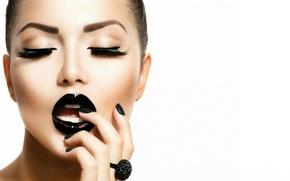 Picture girl, eyelashes, makeup, ring, Anna Subbotina