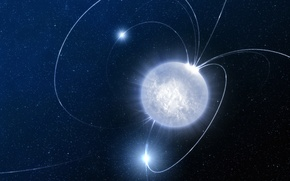 Picture space, a neutron star, Magnetar
