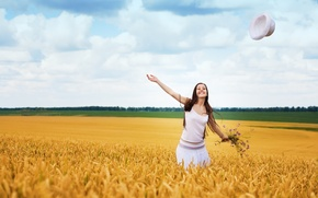Picture field, girl, trees, joy, happiness, smile, background, movement, widescreen, Wallpaper, mood, foliage, positive, wallpaper, widescreen, …