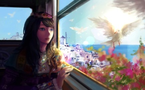 Picture girl, flowers, birds, the city, the ocean, anime, window, art, mikan