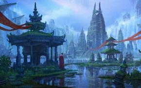 Picture water, fiction, tower, monk, temple, atlantis, art