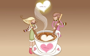 Wallpaper love, coffee, sticks, pair, hearts, wonderful feeling, love is