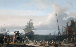 Wallpaper landscape, people, picture, Ludolf Bakhuizen, Dutch Ships at anchorage at Texel