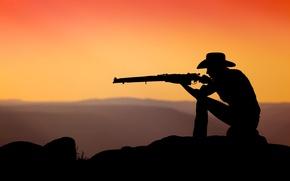 Wallpaper Enfield, cowboy, sunset, rifle