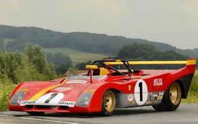 Picture forest, Ferrari, sports car, 312 P, 1972-73