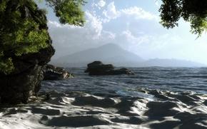 Picture art, coast, sand, sea, wave, greens, klontak, landscape, rocks, stones