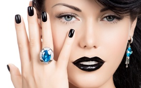 Picture girl, model, hair, hand, makeup, ring, hairstyle, lips. look