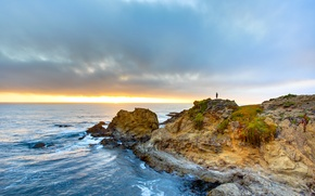 Picture sea, the sky, clouds, sunset, the ocean, USA, California, Cape, Fort Bragg
