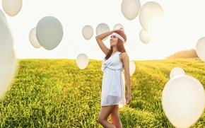 Picture field, girl, sunset, balls, white, figure, slim, dress, fly