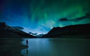 Picture Canada, Landscape, Jasper National Park, Shadow, View, Man, Lake