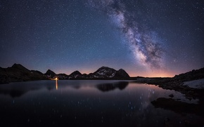 Wallpaper lake, landscape, night, nature, the sky, stars, clouds