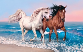 Wallpaper beach, sky, sea, clouds, sand, valentines, painting, hair, horse, mare, suna, kumo, stallion
