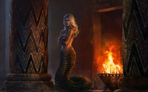 Picture chest, girl, fantasy, fire, art, Medusa, medusa, mythology