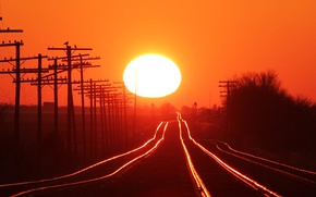Picture Sunset, The sun, The sky, Trees, Posts, Railroad, Rails