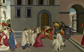 Wallpaper Sandro Botticelli, mythology, Scenes from the life of Saint zenobius, Three Miracles Of Saint Zenobius, ...