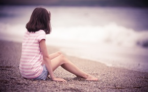 Picture sand, beach, mood, shore, girl