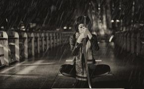 Picture girl, background, rain, sword, katana, Asian