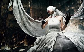 Wallpaper creepy, thread, scissors, bandages, black hands, cloth, woman