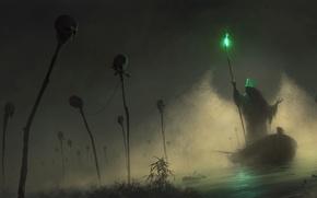 Picture light, green, fog, boat, hood, skull, staff, the carrier, SID75, Vitaliy Smyk, green light