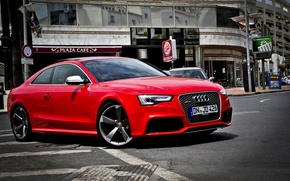Picture road, red, the city, Audi, audi rs5
