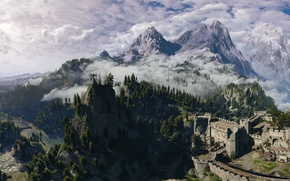 Wallpaper trees, nature, beauty, panorama, fortress, The Witcher 3: Wild Hunt, The Witcher 3: Wild Hunt, ...