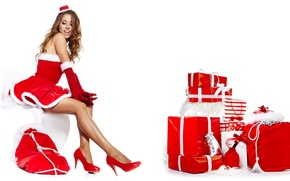 Picture girl, New Year, shoes, gifts, white background, brown hair, sitting, box