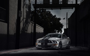 Picture building, mustang, Mustang, silver, lane, ford, shelby, twilight, Ford, Shelby, gt500, silvery