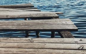 Picture water, bridge, tree, blue