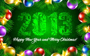 Picture green, colorful, Happy New Year, stars, background, Merry Christmas, decoration, spruce branch, New year, balls, ...